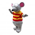Big Eyes Mouse With Striped Shirt Mascot Costume