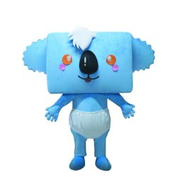 Square Head Blue Koala With Diapers Mascot Costume