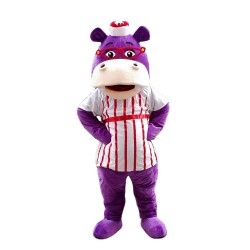 Purple Hippo With Red Glasses And Striped Shirt Mascot Costume