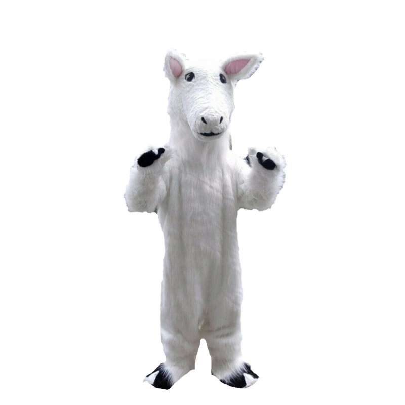 Standing Long Fur White Goat Mascot Costume
