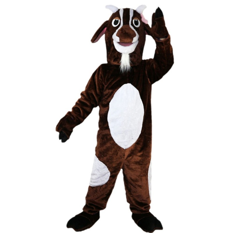 Adult Hot Lively Brown & White Goat Mascot Costume
