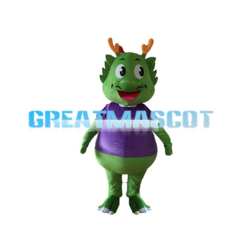Cartoon Smiling Green Dragon With Purple Top Mascot Costume