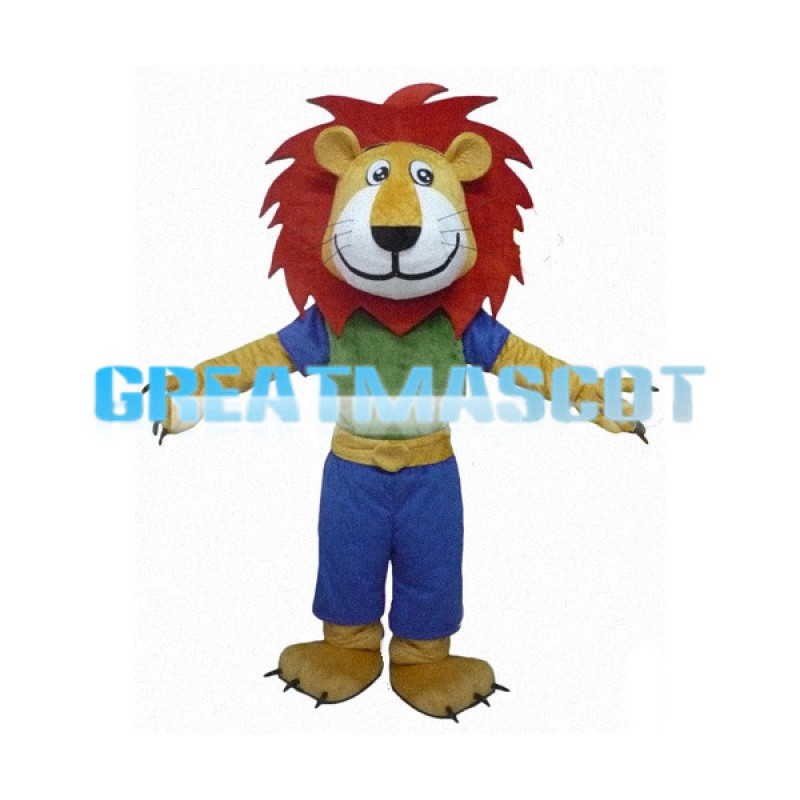 Free Shipping Happy Lion With Reddish Brown Mane Mascot Costume