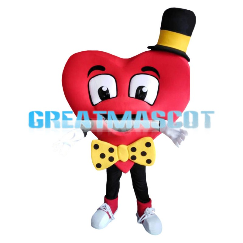 Funny Red Heart With Yellow Tie And Hat Mascot Costume
