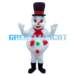 Hot Sale Snowman With Red Scarf Mascot Costume