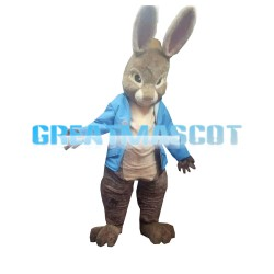 New Lovely Grey Rabbit With Blue Coat Mascot Costume
