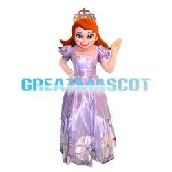 Beautiful Brown Hair Princess With Bright Purple Dress Mascot Costume