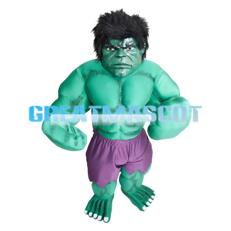 Strong Angry Green Hulk With Purple Shorts Mascot Costume