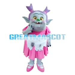 Scary Purple Hair Monster With Sharp Tooth Mascot Costume