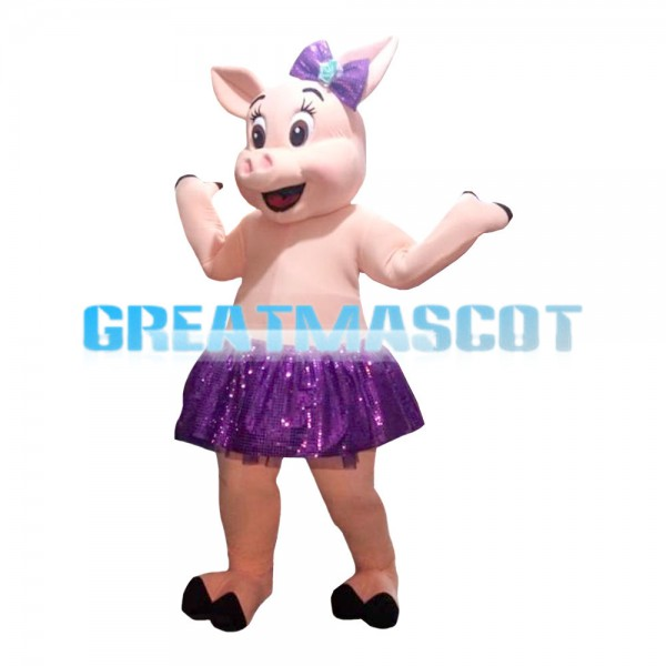 Beautiful Pig Girl With Purple Skirt And Bow Mascot Costume