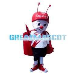 Hardworking Ant With Red Cloak And Helmet Mascot Costume