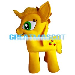 Likeable Yellow Little Horse With Big Green Eyes Mascot Costume