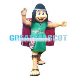 Female Savage In Green Dress Mascot Costume
