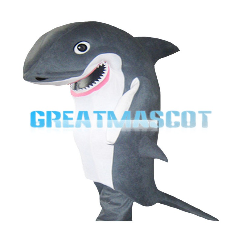 Realistic Grey Shark With Sharp Tooth Mascot Costume
