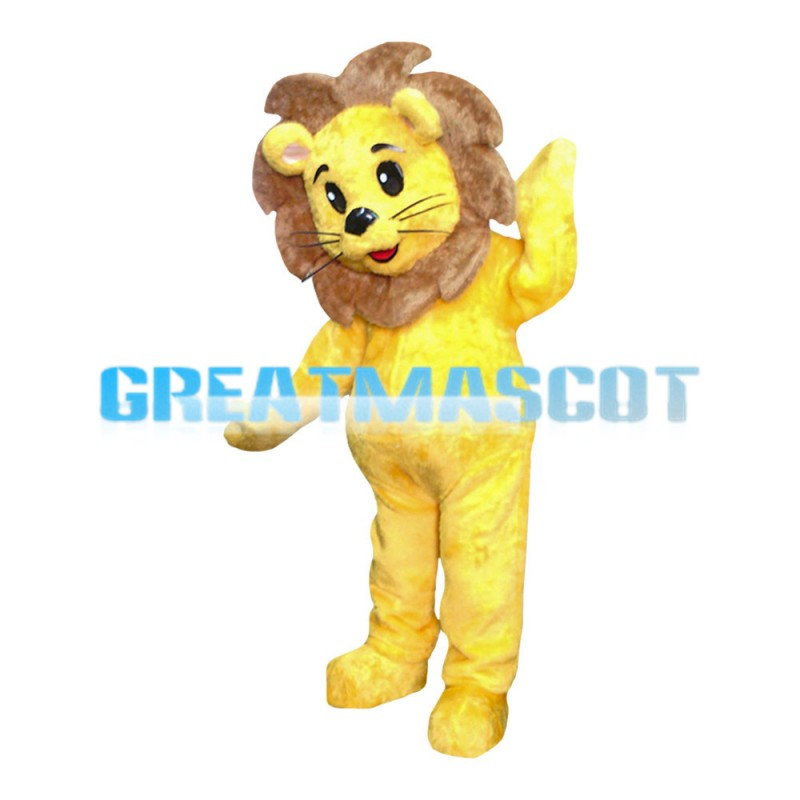 Fancy Little Yellow Lion With Brown Mane Mascot Costume