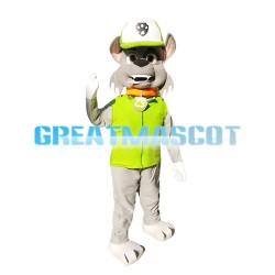 Hot Honest Grey Dog With Green Top Mascot Costume