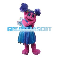 Shy Pink Sesame Street With Blue Dress Mascot Costume
