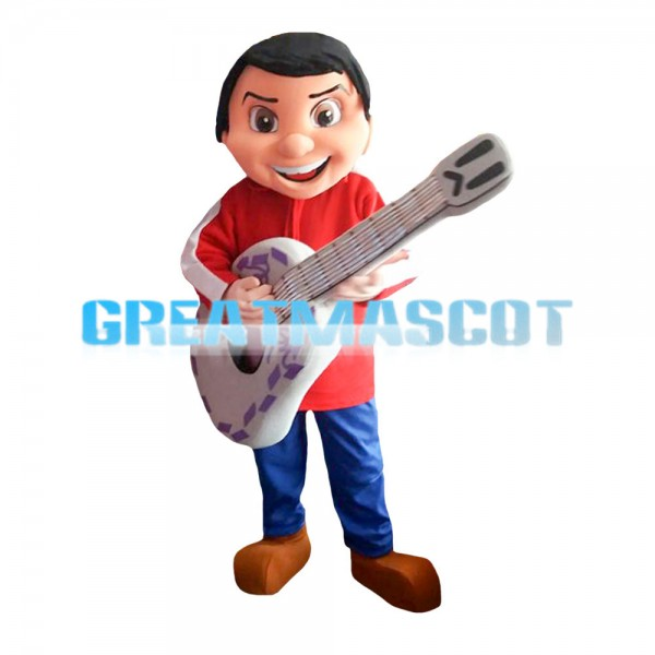 Excited Playing Guitar Boy With Set Mascot Costume