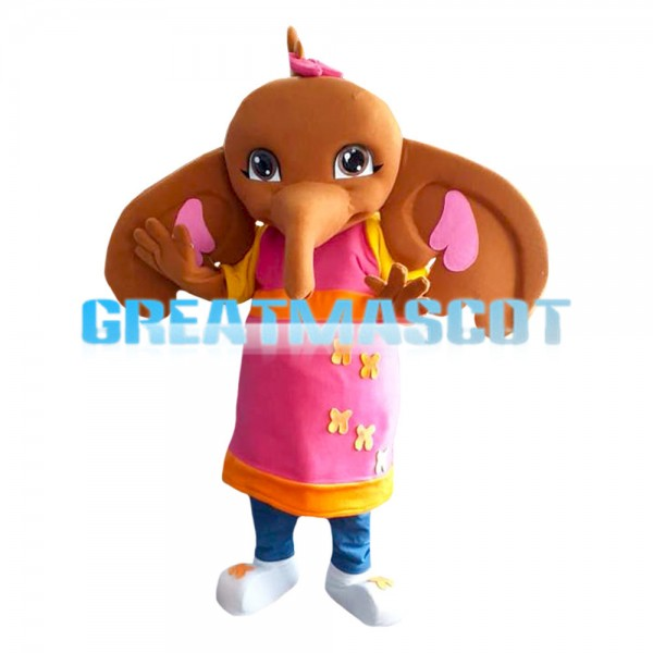 Cute Brown Elephant With Pink Apron Mascot Costume