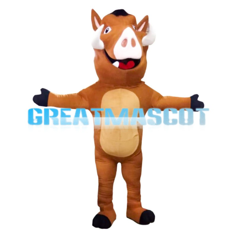 Brown Wild Pig With Fangs Mascot Costume