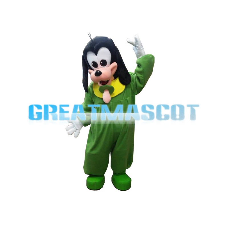 Furry Green Goofy Dog With Nipple Mascot Costume