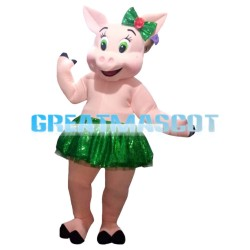 Lovely Cartoon Pig With Green Eyes Mascot Costume