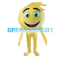 Round Yellow Ball With Green Eyes Mascot Costume
