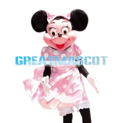 Top Sale Minnie Mouse Wearing Pink Dress Mascot Costume