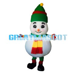 Super Cute Snowman With Christmas Hat Mascot Costume