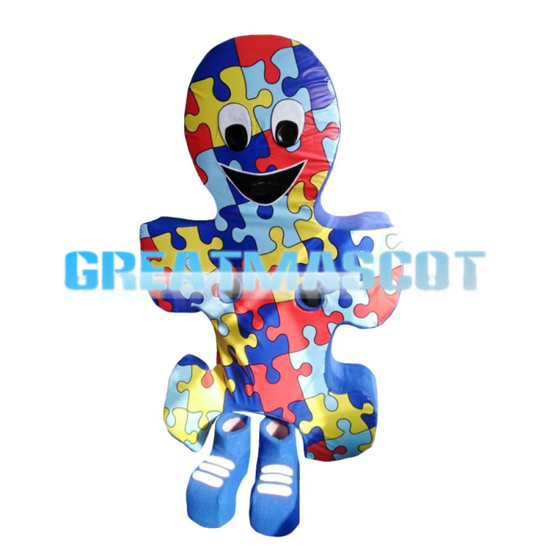 Interesting Colorful Puzzle Doll Mascot Costume
