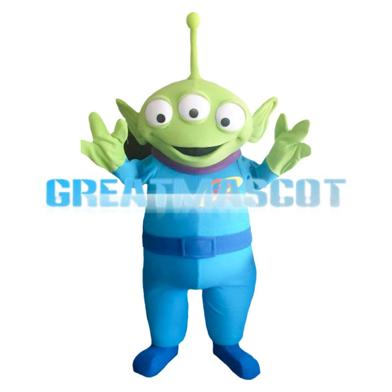 Funny Green Monster With Three Eyes Mascot Costume