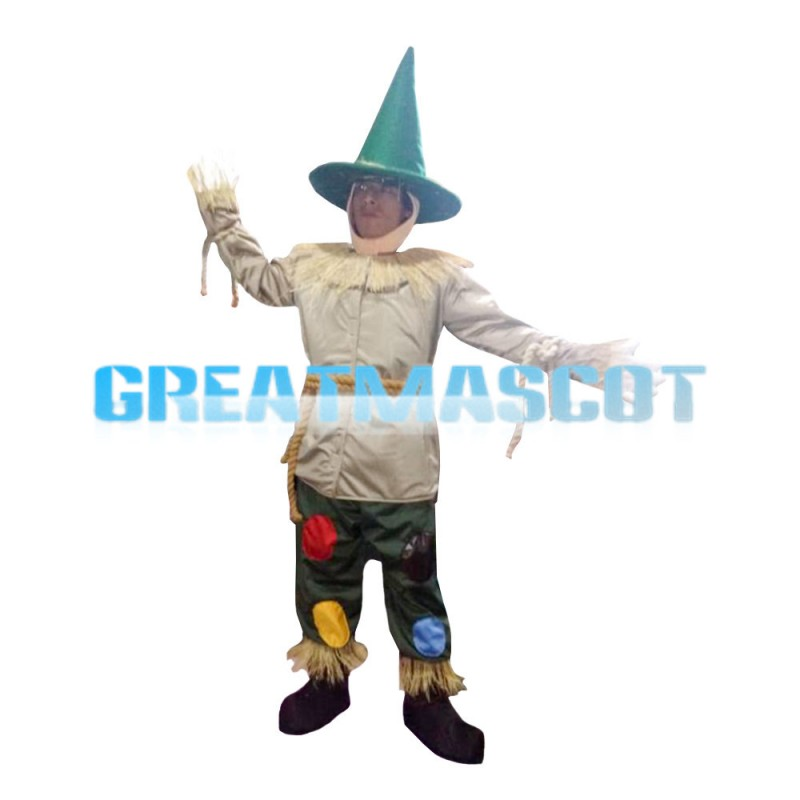 Hot Sale Scarecrow With Green Conical Hat Mascot Costume