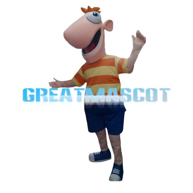 Lively Cartoon Big Mouth Boy Mascot Costume