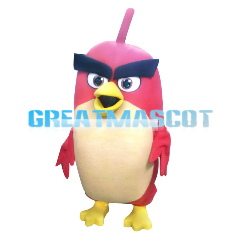 Long Body Thick Eyebrow Red Angry Bird Mascot Costume