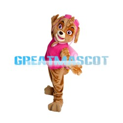 Brown Little Dog With Pink Vest Mascot Costume