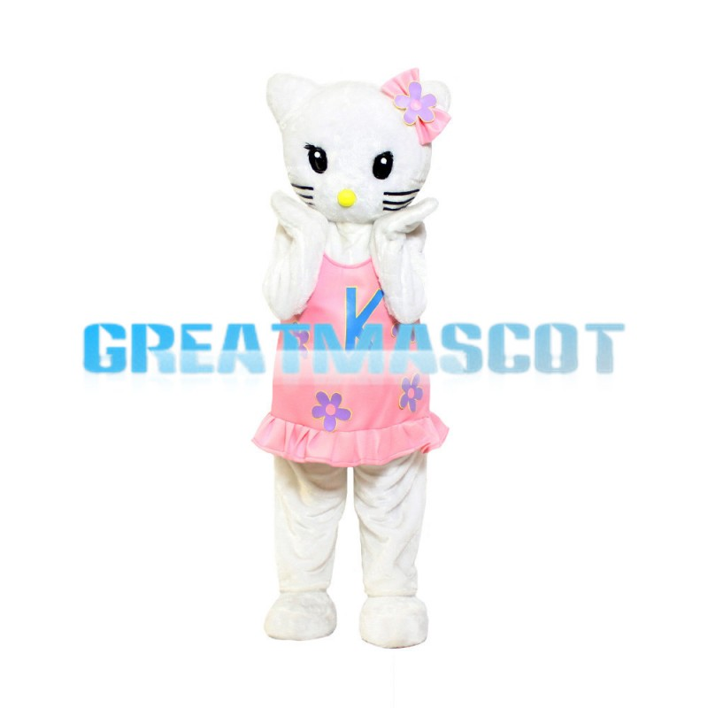 Free Shipping Shy Hello Kitty With Pink Dress Mascot Costume