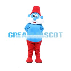 Wise Leader Of Blue Smurf Mascot Costume