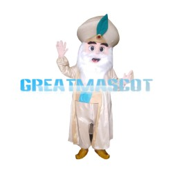 Bearded Old Arab King With Coat Mascot Costume