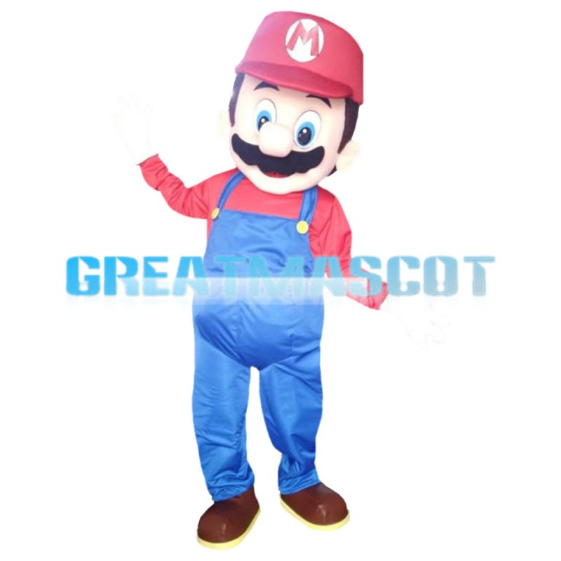 Big Nose Mario With Blue Rompers Mascot Costume