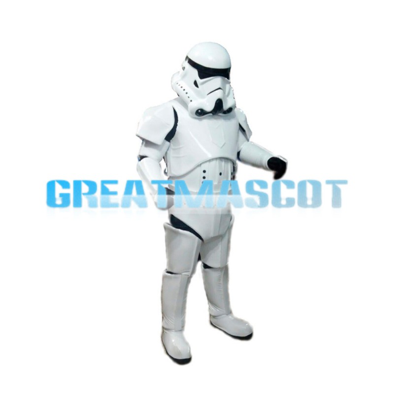 Cool Space Robot Wearing White Space Suit Mascot Costume