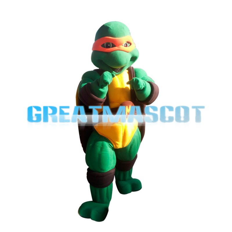 Smart Teenage Ninja Turtle With Orange Blindfold Mascot Costume