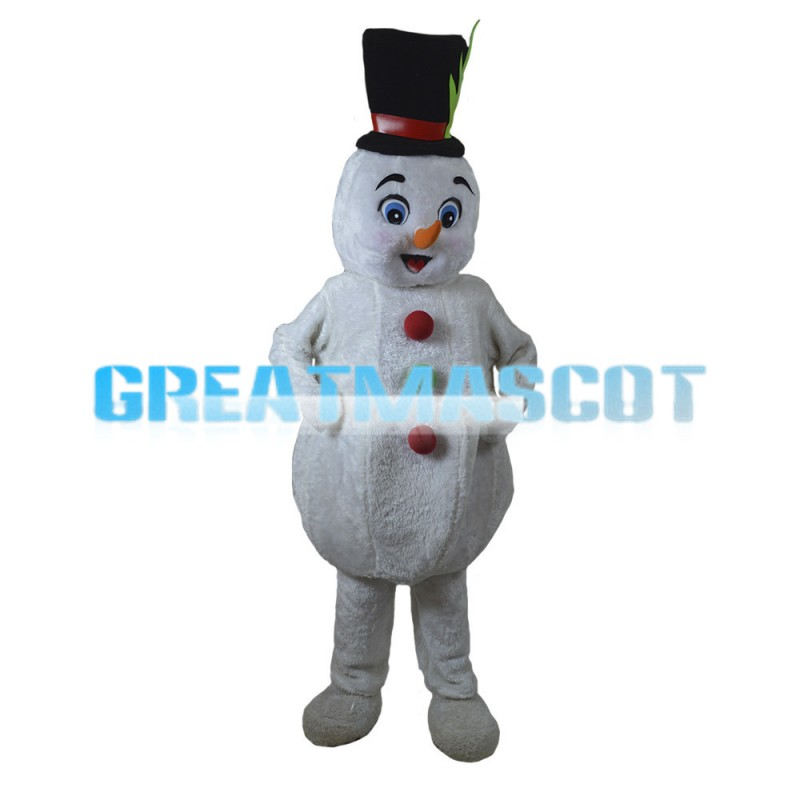 Soft Cartoon Snowman With Bowler Hat Mascot Costume