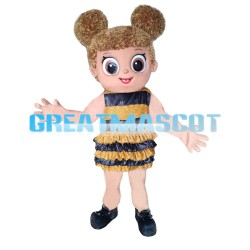 Cartoon Very Cute Girl Wearing Bee Dress Mascot Costume