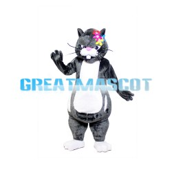 Grey Rabbit With Colorful Flower On Head Mascot Costume