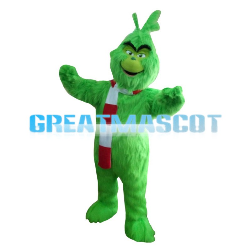 Long Fur Green Monster With Scarf Mascot Costume