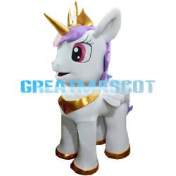 White Pony With Purple Mane And Gold Horn Mascot Costume