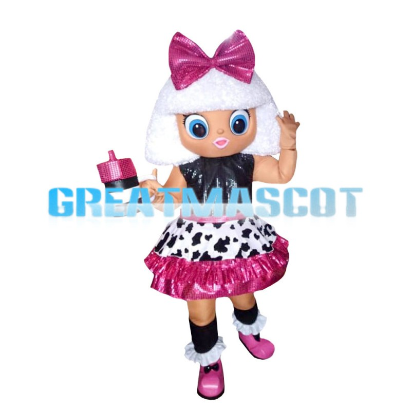 White Hair Black Little Girl With Bow Mascot Costume