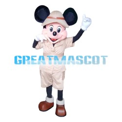 Friendly Mickey Mouse With Khaki Set Mascot Costume