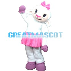 White Furry Sheep In Pink Skirt Mascot Costume
