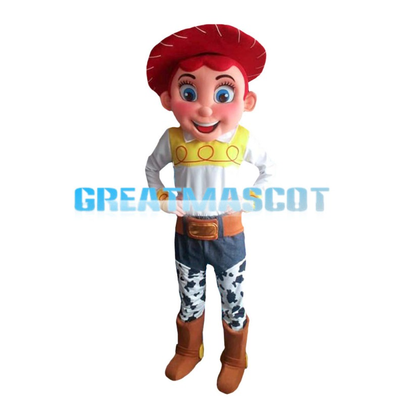 Happy Cowboy With Red Berets Mascot Costume